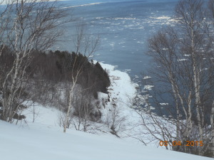 This is the base of the small dunes.  Get too close to the edge and the ice will take you straight to the bottom!