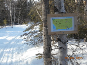 While the trails have been set all winter new maps only appeared in March.  At last I can find my way home!