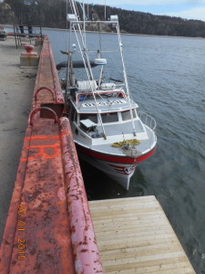 One of three fishing boats vying for space to unload their catch