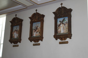 Some of the carved stations of the cross