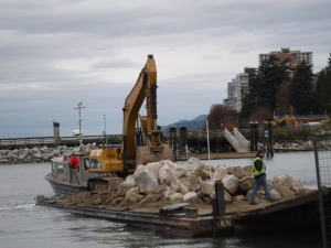 Building up the shoreline in Ableside near Gwen's house in West Vancouver
