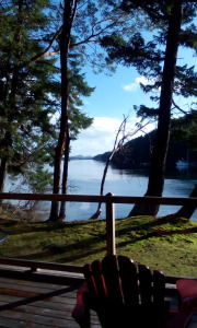 The view from our cabin. They actually burn cedar in the fireplaces. WE could hardly make ourselves put it into the fire